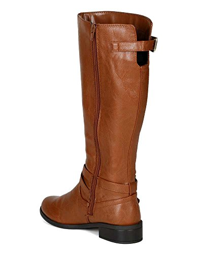 Riding Leatherette Decor Motorcycle 9 S Soda Size High Bio Buckle Cognac 0 Calf Boot qxp8E