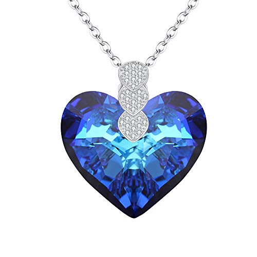 Necklace Silver Inspired Heart (EleQueen 925 Sterling Silver CZ
