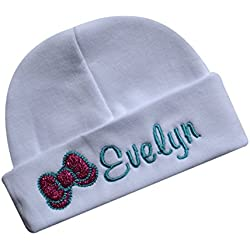e2f276f0448 Personalized Embroidered Baby Girl Hat With SPARKLING GLITTER BOW From Funny  Girl Designs - CUSTOM NAME