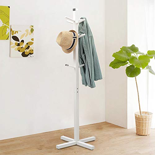 GXF Bedroom Floor Coat Rack Solid Wood Creative Hanger Room Simple Inner Hanger,8 Hooks,White,A by GXF (Image #3)