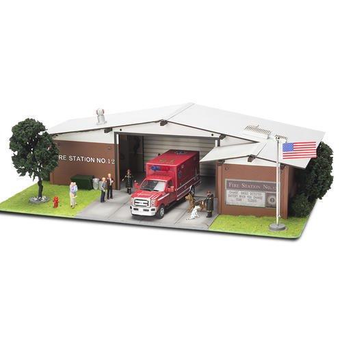 Menards ~ O Gauge Fire Station pre-built collectible building