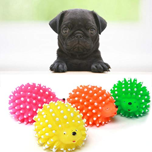 DICPOLIA Pet Supplies 1 Pc Durable Dog Spike Ball, Squeaker Spiky Ball Squeaky Dog Toy for Tooth Cleaning, Training, Play Fetch, Boring (Random) ()
