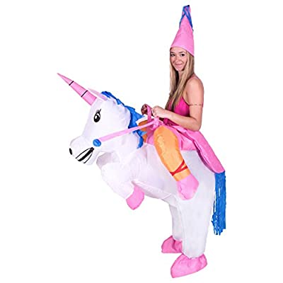 Bodysocks - Inflatable Unicorn Piggyback Mythical Princess Blow Up Animal Adult Fancy Dress Costume