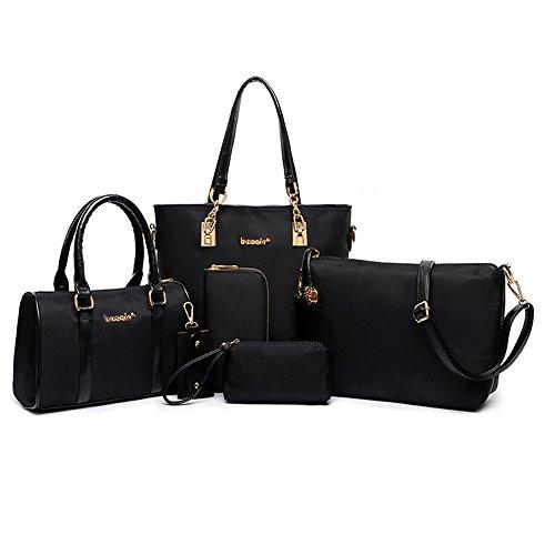 Women Handbag,Women Bag, KINGH Vintage PU Leather Tote Clutch Purse Keychain 6 Piece Set Bag 080 Black