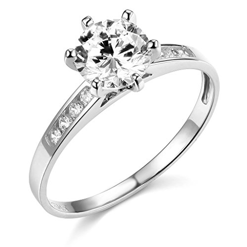 TWJC 14k White Gold SOLID Wedding Engagement Ring - Size - Setting White Gold Engagement