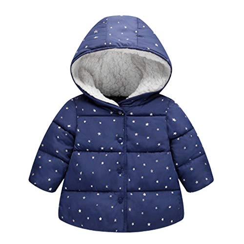 ❤️Mealeaf❤️ Baby Boys and Girls Clothes with Children Girl Outerwear Winter Hooded Winter Jacket Fashion Kids Star Coat Cloth (3-4 Years Old, -