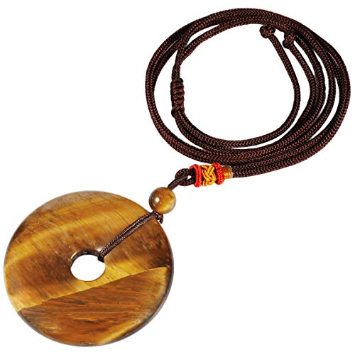 TUMBEELLUWA Healing Stone Pendant Crystal Necklace Chakra Quartz Cord Donut Shape Lucky Amulet Handmade Jewelry for Women Men,Tiger's Eye ()