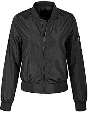 KOGMO Womens Classic Zip Up Lightweight Bomber Jacket Various Styles