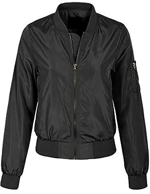 KOGMO Womens Classic Zip Up Lightweight Bomber Jacket Various Styles