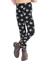 Rimi Hanger Girls Halloween Skull Printed Black Leggings