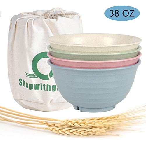 kable Large Cereal Bowls - 30 OZ Wheat Straw Fiber Lightweight Degradable Bowl Sets 4 - Dishwasher & Microwave Safe - Eco-Friendly - for Cereal,Salad,Soup, Noodle, 4 Pieces ()