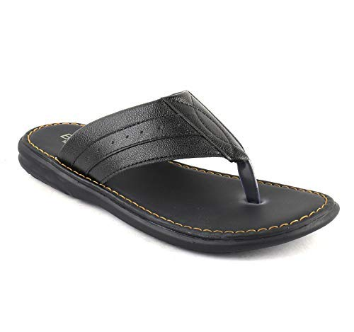 95cc98a0fbb3 BERKINS Flip-Flops and House Slippers Synthetic Leather Latest Fashion for  Men(0SOD9005) Black  Buy Online at Low Prices in India - Amazon.in