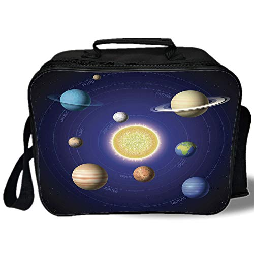 Insulated Lunch Bag,Space,Solar System Illustration Showing