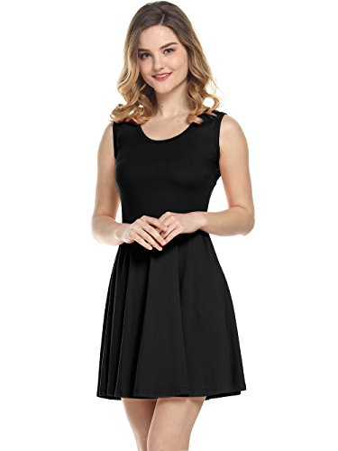 Amoretu Women's Beach Casual Scoop Neck Flared Sleeveless Dress (Black, XXL) - Holiday Party Suits Dresses