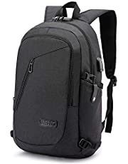 Laptop Backpack,Business Travel Anti Theft Backpack for Men Women with USB Charging Port,Slim Durable Water Resistant College School Bookbag Computer Backpack Fits 15.6 Inch Laptop Notebook, Black