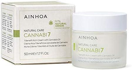 AINHOA Cosmetics – CANNABI7 Crema Rica 7 Beneficios con Aceite de Cannabis 50 ml - Tratamiento facial Piel Seca con Cáñamo – Cosmética Natural y Vegana Mujer/Hombre - Día/Noche - Calidad Profesional