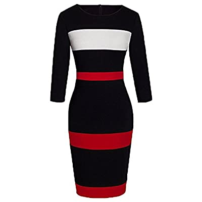 WOOSEA Women's Sleeveless Voguish Colorblock Stripe Cocktail Party Pencil Dress