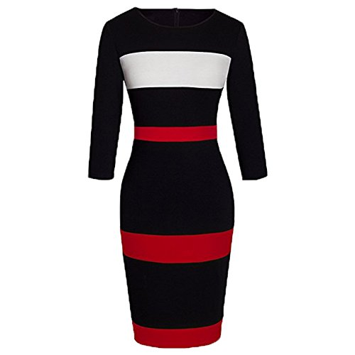 WOOSEA Women's Sleeveless Voguish Colorblock Stripe Cocktail Party Pencil Dress (Small, Black 2#)