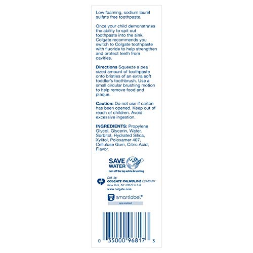 417Foyvi8QL - Colgate Zero Baby And Toddler Fluoride Free And SLS Free Toothpaste, Natural Mild Fruit - 1.75 Ounce