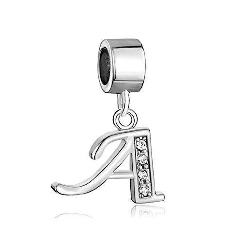 ThirdTimeCharm Dangle A Letter Initial Charm Clear Crystal Alphabet Beads For Charm Bracelets