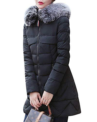 Outercoat Capispalla Nero Warm Giacca S Dimensione Winter Parka Con Coat Da Cappuccio colore Donna XBpqBZwzx