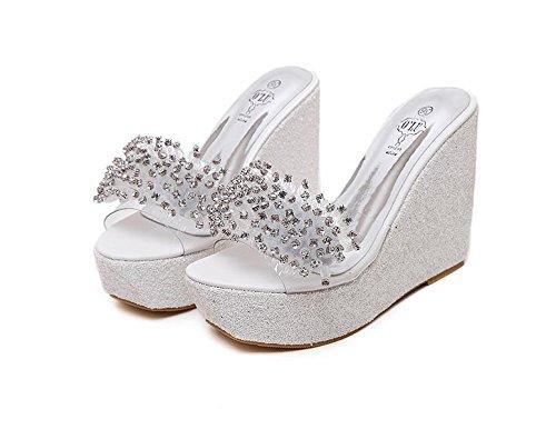 LvYuan Zapatillas de verano de las mujeres / Confort Casual Moda / Wedge Heel / fondo grueso / plataforma impermeable / alto talón / rhinestones / sandalias Blanco