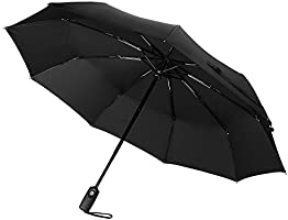 Patec Automatic 9-rib Travel Umbrella Windproof ,One Hand Operation,Super Strong and Windproof Umbrella,Fast Drying with 210t Fabric Teflon,for Men & Women-42inch Black