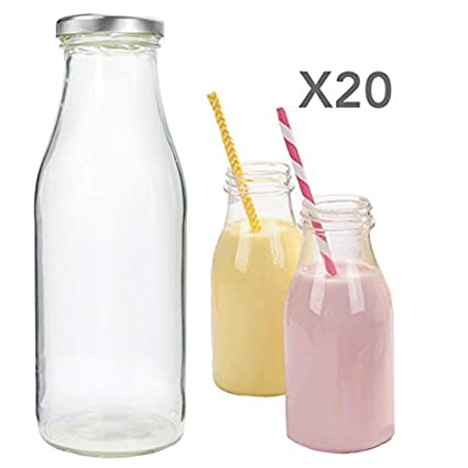 Juego de 500 ml Mini botellas de leche de cristal, transparente con tapas de plata