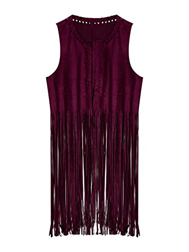 PERSUN Women's Dark Red Collarless Strappy Tassel Hem Suedette Waistcoat,Large (1970s Clothing For Women)