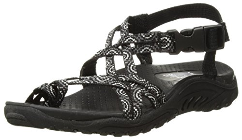 Skechers Women's Reggae-Happy Rainbow Sandal, Black, 7 M US