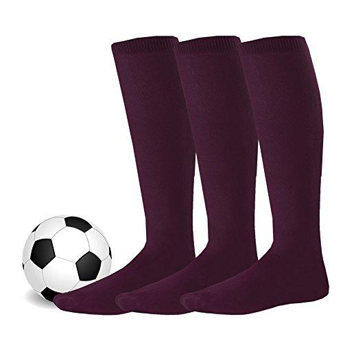TeeHee Acrylic Unisex Soccer Sports Team Cushion Socks 3 Pack (Medium (9-11), Burgundy)