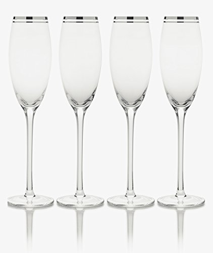 Mikasa Haley Platinum Champagne Flute, 7-Ounce, Set of (Platinum Champagne Flute)