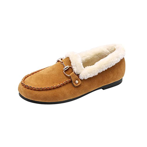 Schuhe Hunpta Winter Dekoration Flats Schuhe Flats warme Platform Damen Casual Metall Khaki Schuhe pq4nFg6xw