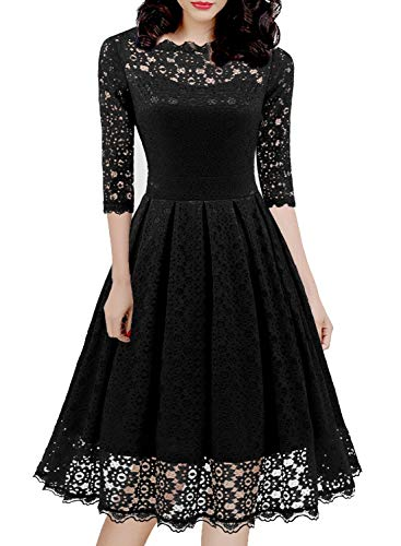 Women's 1950s Vintage Floral Lace Half Sleeve Cocktail Party Casual Swing Dress 595 (L, Black)