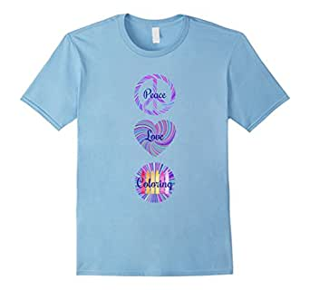 Mens Coloring T Shirt Peace Love Coloring 2XL Baby Blue