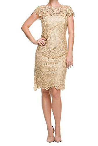 Ruiyuhong Short Lace Prom Gown Cap Sleeve Mother Of The Bride Dress (14,Gold)