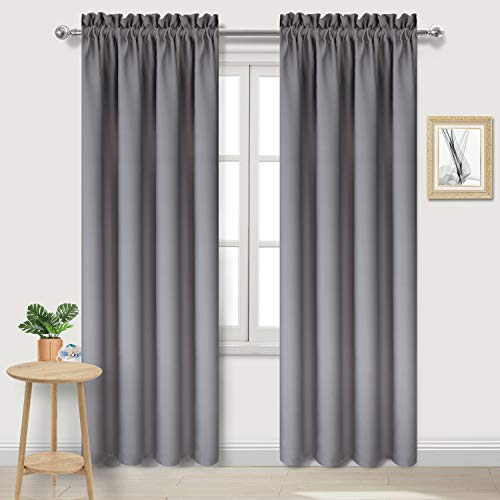 DWCN Blackout Curtains Thermal Insulated Bedroom Curtains Window Curtain Panels 42 x 84 inches Long, Grey Rod Pocket Drapes, Set of 2