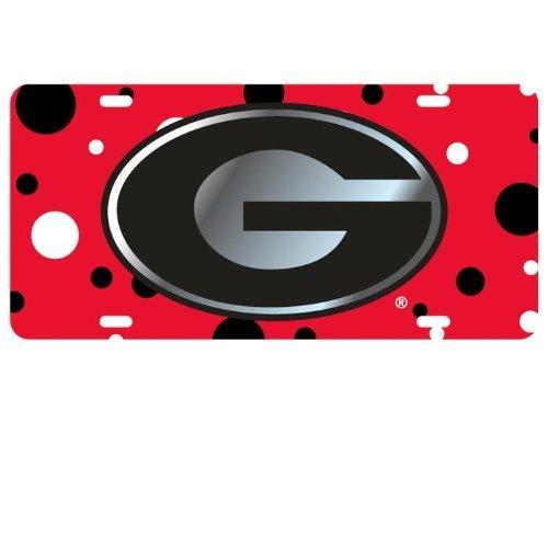 Georgia Bulldogs Polka Dot Car Tag