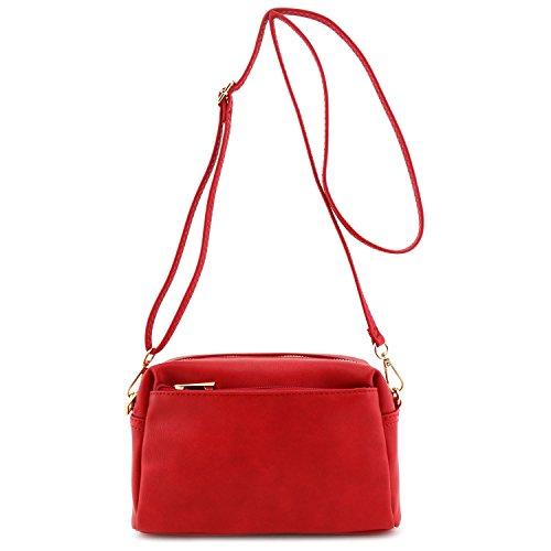 Small Triple Zip Crossbody Bag Red