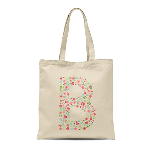 B Birthday Bag Tote Floral Personalised Letter Present Letter Shopper Any Gift Alphabet 0Pq0xO