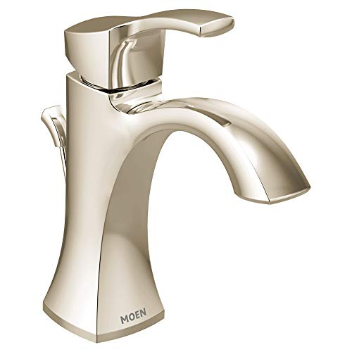 - Moen 6903NL Voss Collection One-Handle High-Arc Bathroom Faucet with Drain Assembly, Polished Nickel