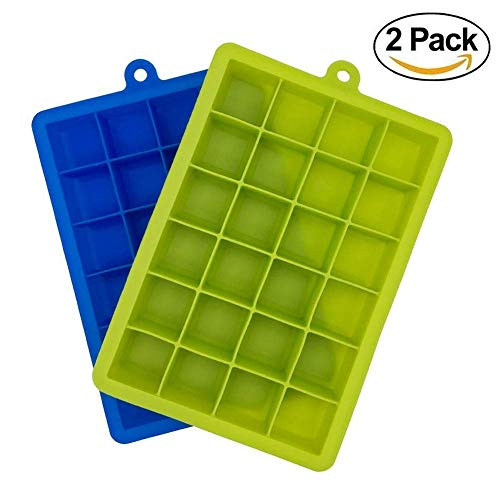 Wolblix Silicone Ice Cube Trays 2 Pack – 24 Cavity Per Ice Tray – Flexible Stackable Mini Cocktail Whiskey Ice Cube Mold Storage Containers Price & Reviews