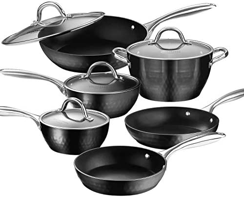 AMERICOOK Black Pans and Pots Set, 10 Piece Diamond-Infused Induction Cookware Set – Aluminium body Set of Induction Pan and Pot with Sturdy Glass Lids and Non-Slip Stay-Cool Stainless Steel Handles