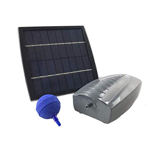AEO Solar Powered Air Pump Kit: one Airing Stone, 2LPM Air Pump & 1.5W Solar Panel for Fish Pond, Aquaculture, Hydroponics, Bubbleponics ()