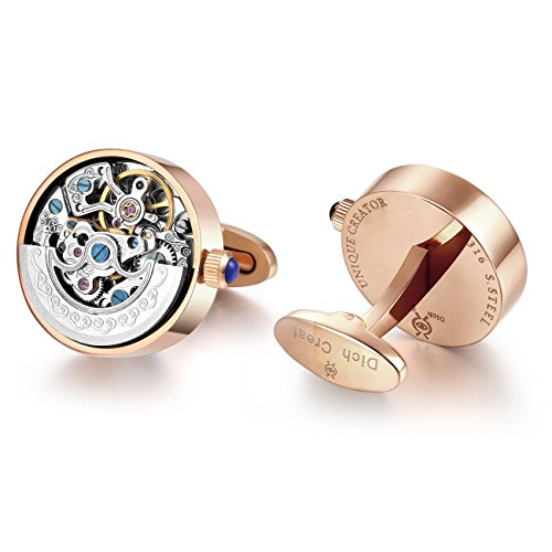 Dich Creat Men's Stainless Steel Rose Gold PVD Automatic Working Movement Cufflink