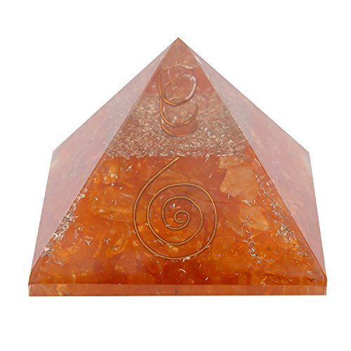 GAPC-197 3 and 3 Inches Aatm Energy Generator Orange Clear Crystal Orgone Pyramid for EMF Protection Chakra Healing Meditation with Copper