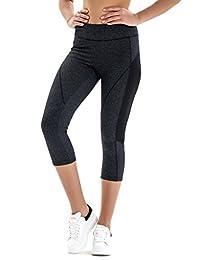 7Goals Pantalones capri de yoga para mujer Leggings de malla de entrenamiento de media altura