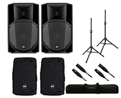 2x RCF ART 745-A MK4 Active Speaker + Covers + Stands + Bag + Mogami ()