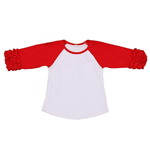 Problems Toddler T-shirt - Kaiya Angel Toddler/Little Girl's Icing Ruffle Shirts Raglan Shirts, White Red, 2-6 Years