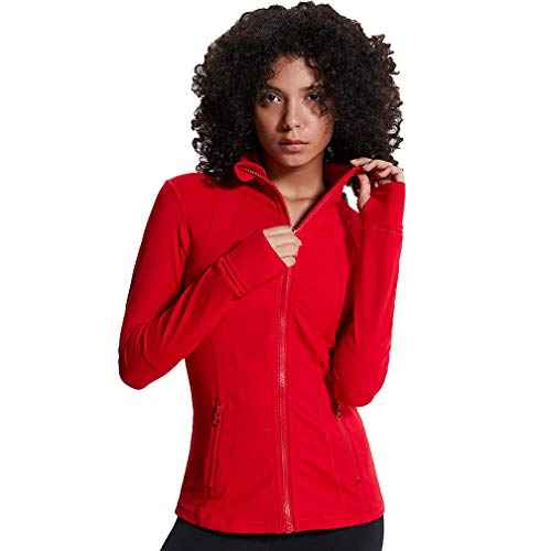 TERODACO Women's Slim Fit Full Zip Yoga Red Collar Jackets for Workout Running Hiking